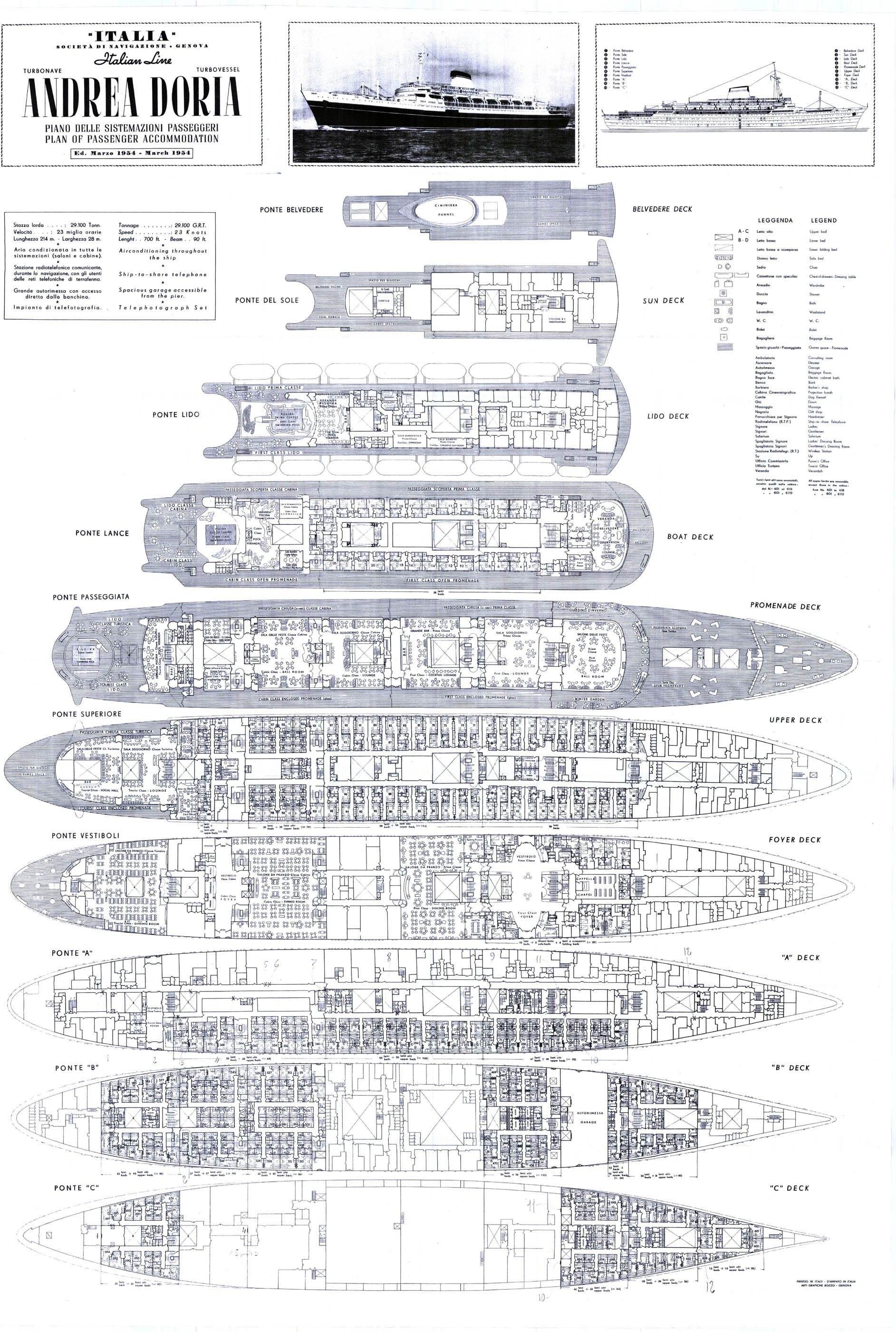 A grate day on the andrea doria for Deck plans online