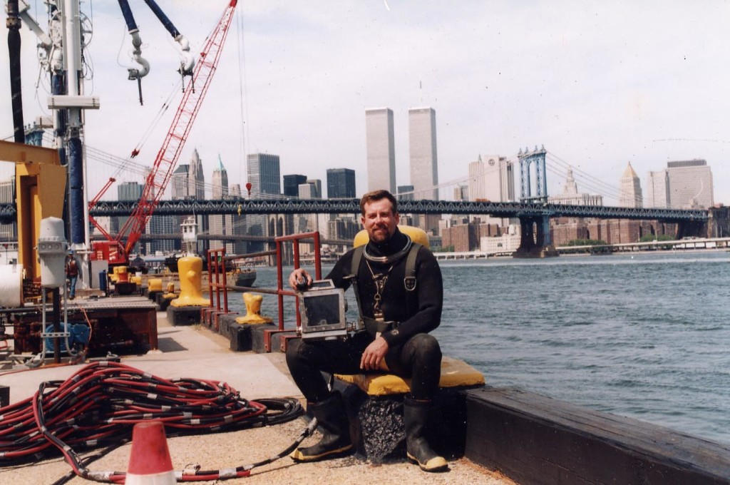 John Chatterton At work in front of  Twin Towers, NYC 911